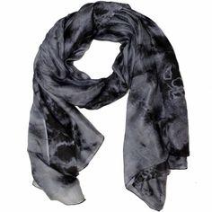 Silk Tie Dye Scarf-Black