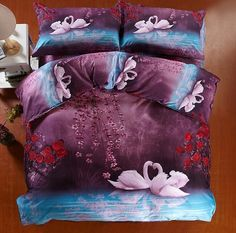 Wholesale Bed In a Bag - Buy 3D Bedding Set Swan 100% Cotton Purple Animal Bed in a Bag Flat Sheet Print Printed 4pcs Queen King, $154.35 | ...