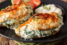 Pan Fried Spinach & Cream Cheese Stuffed Chicken - The Kitchen Magpie Fried Spinach, Creamy Spinach, Spinach Ricotta, Top Recipes, Cooking Recipes, Crockpot Recipes, Dinner Recipes, Cream Cheese Chicken, Goat Cheese