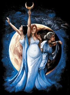 I love these images and depictions of the Triple Goddess. A representation of the Maiden, Mother, and Crone. The Triple Goddess is also see. Maiden Mother Crone, Mother Goddess, Triple Moon Goddess, Pagan Witch, Witches, Celtic Mythology, Celtic Paganism, Sacred Feminine, Goddess Art