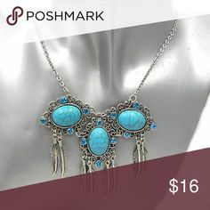 """Boho Turquoise Blue Rhinestone Feather Necklace Turquoise Rhinestone  Royal Blue Chrystals  Metal: alloy Necklace: 20"""" Pendant: 3"""" wide and 2 1/2"""" long   Brand new in original plastic packaging  💙💙MATCHING EARRINGS IN THE CLOSET💙💙 No Brand  Jewelry Necklaces"""