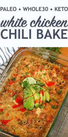 Save yourself some time and sanity with this easy and delicious White Chicken Chili Bake perfect for those busy weeknights. #chickenchilibake #paleorecipes #ketofriendly Paleo Whole 30, Whole 30 Recipes, Keto Foods, Paleo Food, Paleo Dinner, Dinner Recipes, Cena Paleo, Recetas Whole30, Snacks Sains
