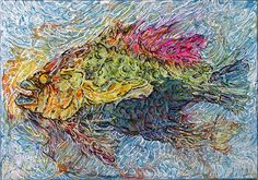 """2011 Rock Bass My Ass  © Col Mitchell  5""""x 7"""" x 1.5""""  Manipulated paper, fluid acrylics and inks on canvas  Private Collection #fish #paper #paperart #paperartist"""