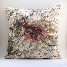 "Image of Vintage PARIS + ENVIRONS Map Pillow, Made to Order 18"" x18"" Cover"