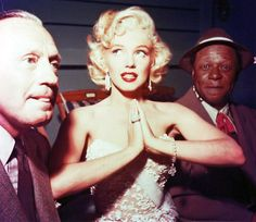 Jack Benny, Marilyn Monroe and Eddie Anderson during rehearsal for the Jack Benny Show, 1953.