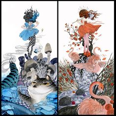 SPECIAL- Alice in Wonderland and The Queen of Hearts - set of 2 prints - 7x14 gallery quality giclee print
