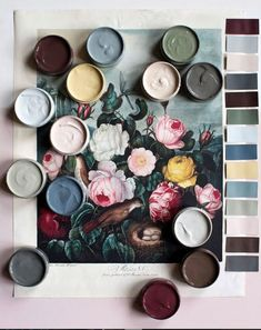 handcrafted paint samples by atelier ellis in london. #floralart #artwork #paintsamples #handmadepaint #handcraftedpaint #painting #paintpallete #paintcolors #paintcolorpallete #englishpaint #britishpaint