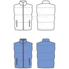 Fashion Illustration Unisex Quilted Puffy Vest Fashion Flat Template - Front and back fashion flat template of unisex quilted puffy / down vest with center front exposed zipper, vertical zipper pockets on waist. Fashion Sketch Template, Fashion Design Template, Fashion Templates, Fashion Design Jobs, Fashion Design Drawings, Fashion Designers, Fashion Illustration Sketches, Fashion Sketches, Illustrator