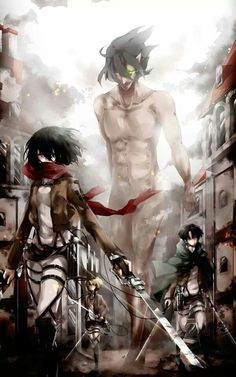 Attack on Titan ~~ Mikasa Ackerman, Rivaille (Levi), Armin, and Eren Jaeger in Titan-form