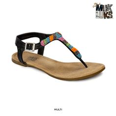 MUK LUKS Women's Aurora Strappy Sandals with Beaded Accent - Assorted Styles at 64% Savings off Retail!