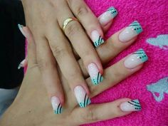 Black and blue design. Classy Nails, Fancy Nails, Simple Nails, Trendy Nails, Long Nail Designs, Nail Art Designs, Hello Nails, Oval Nails, Finger