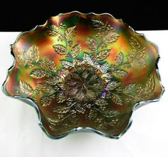 Want Fenton Holly Carnival Glass Bowl