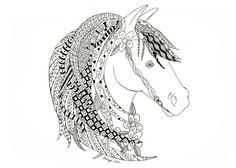 5x7 Zentangle Inspired horse Card.  Great for any one who is a horse lover.   Available at https://www.etsy.com/shop/MargieSamuelsArt