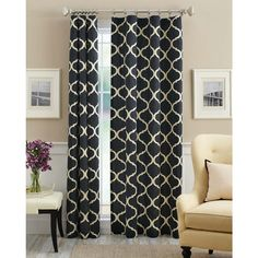 Mainstays Canvas Iron Work Curtain Panel - black - I have these curtains in both tan and black. I love them