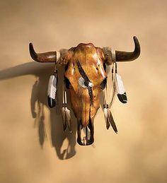 5273723032: Painted Steer Skull Wall Art - Eagle