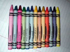 Retired colors from the Crayola Hall of Fame. Visit the source page & click on the colors to grab their digital equivalent from the COLOURlovers' library.