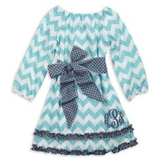 Aqua Chevron Gray Dot Squinchy Sash Dress