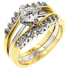 Genuine Rhodium Plated and 18k Gold Plated Anniversary Ring with All Clear Cubic Zirconia in Two-Tone