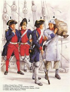 officers of French navy serving off American coasts - Revolution American Revolutionary War, American War, Early American, American History, European History, Military Art, Military History, Independence War, Seven Years' War