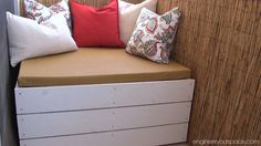 DIY Outdoor Storage Bench - redoing a small balcony - really nice!