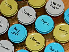 Tips for reusing glass bottles and jars (baby food jars would work perfectly for this) Baby Bottle Organization, Spice Organization, Organization Ideas, Bottles And Jars, Baby Bottles, Glass Bottles, Mason Jars, Low Carb Food List, Weight Loss Herbs