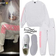 Kylie Jenner posted a picture on snapchat wearing a Thick!!!! Crewneck ($70.00) and Thick!!!! Sweatpants ($70.00) both from The Kylie Jenner Shop, with Puma Basket Classic Sneakers ($52.43).