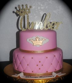 Princess Baby Shower Cake Gold And Pink