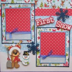 First Snow Boy Girl Baby Winter 2 Premade Scrapbook Pages Paper Piecing | eBay