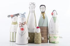 Father's Day family portrait, grandma, parents and three children in Sage green, mint, light blue, stripes and polka dots -handmade dolls