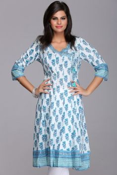 Elegant #Blue #Buttidar #Kurta By #Farida Gupta on www.IndiaInMyBag.com/Farida-Gupta