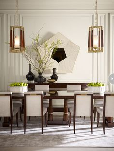 thomas pheasant contemporary dining room--carved chairs, rectangular pedestal table, lighting