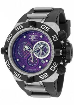 Invicta 11510 Watches,Men's Subaqua/Noma IV Chronograph Purple Dial Black Polyurethane, Men's Invicta Quartz Watches