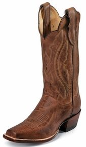 "Justin Women's 12"" Western Tan Distressed Vintage Goat Cowboy Boots - Tan Distressed"