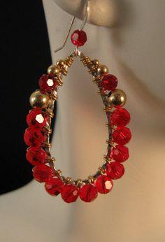 Beaded Earrings Patterns, Diy Earrings, Silver Hoop Earrings, Crystal Earrings, Beaded Jewelry, Beaded Bracelets, Rustic Jewelry, Bohemian Jewelry, Jewelry Rings