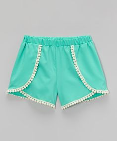 Mint Tulip Trim Shorts - Girls