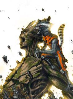Guardiani della Galassia acrilico su carta Groot & Rocket