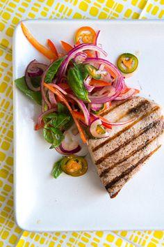 Grilled Swordfish & Pepper Salad