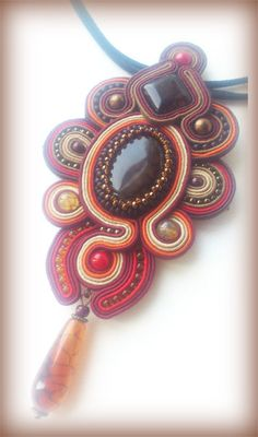 Pendant with soutache and agate:  Do you like by JaneSumina