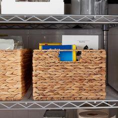Water Hyacinth Storage Bins with Handles Fabric Storage Bins, Cube Storage, Plastic Storage, Storage Boxes, Storage Baskets, Pantry Baskets, Storage Ideas, Pantry Door Storage, Kitchen Organization Pantry