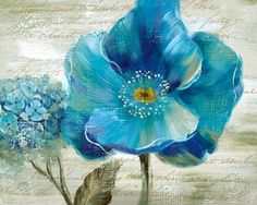 Blue Poppy Poem II Fine-Art Print by Nan at UrbanLoftArt.com