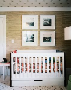 chic nursery love the wallpaper on the ceiling (me too) and I love the frameless pictures- I have about 6 that arent in use but will be!!