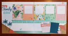 CTMH Postcard Perfect two page layout by April Coats: vacation, beach, summer, ocean, palm trees, flamingos, adventure.