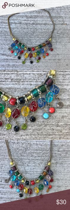 "Glass bead NECKLACE SILVER WIRE WRAP  choker bib Fun and beautiful ! Dangle FRINGE wire wrapped BEADED necklace in an assortment of delightful colors! End to end measures 16"". What a lovely statement piece - goes with everything. Keep for yourself or buy as a gift for that special friend..! N5 sundance Jewelry Necklaces"