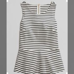 J.Crew Factory Striped Peplum Navy and White striped peplum top with zipper in the back. New with tags- size large J. Crew Tops