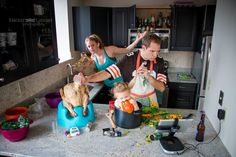 "Warning: Cooking with babies could result in dangerous mistakes. ""They had this awesome sense of humor,"" Guenther said of the family in this photo. ""It was near Thanksgiving and they wanted it for their holiday card. I was laughing hysterically with them. I knew [the photo] had to be funny and quirky."" Mission accomplished."