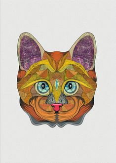 Cat Illustration Print Handmade Items, Handmade Gifts, Digital Art, Cats, Unique Jewelry, Illustration, Vintage, Kid Craft Gifts, Gatos