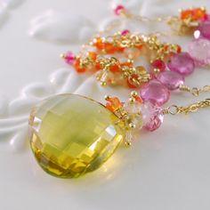 Gemstone Necklace Summer Bride  Lemon Quartz by livbridal on Etsy, $380.00