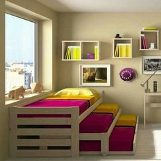Loft Beds: Maximizing The Area Of Small Spaces – Bunk Beds for Kids Cama Murphy, Murphy Beds, Bunk Bed Designs, Diy Casa, Pallet Beds, Kid Beds, New Room, Small Spaces, Beds For Small Rooms