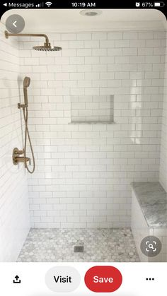 63 Luxury Walk in Shower Tile Ideas That Will Inspire You - Page 57 of 63 - My H. 63 Luxury Walk i Tile Walk In Shower, Master Bathroom Shower, Upstairs Bathrooms, Small Bathroom, White Subway Tile Bathroom, Subway Tile Showers, Bathroom Ideas, White Tile Shower, Houzz Bathroom