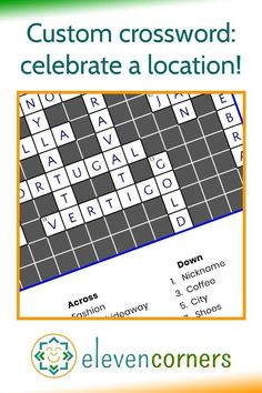 A crossword to celebrate a location - an idea from one of our customers. A custom crossword print with clues and answers about a village in England, it's a unique and personal gift idea. #elevencorners #crossword #crosswordpuzzle #personalisedprints Personalised Prints, Personalized Wall Art, Personalized Gifts, Family Wall Art, Music Artwork, Crossword, Geometric Art, England, Unique